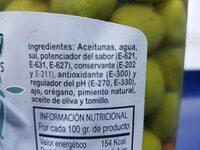 Aceitunas chupadeo - Ingredients - es
