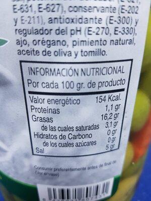 Aceitunas chupadeo - Nutrition facts - es