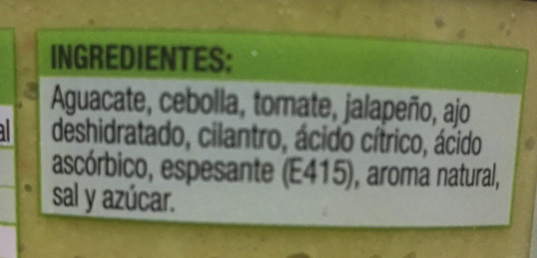 Guacamole elaboración artesanal tarrina - Ingredientes