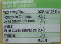 Guacamole elaboración artesanal tarrina - Información nutricional