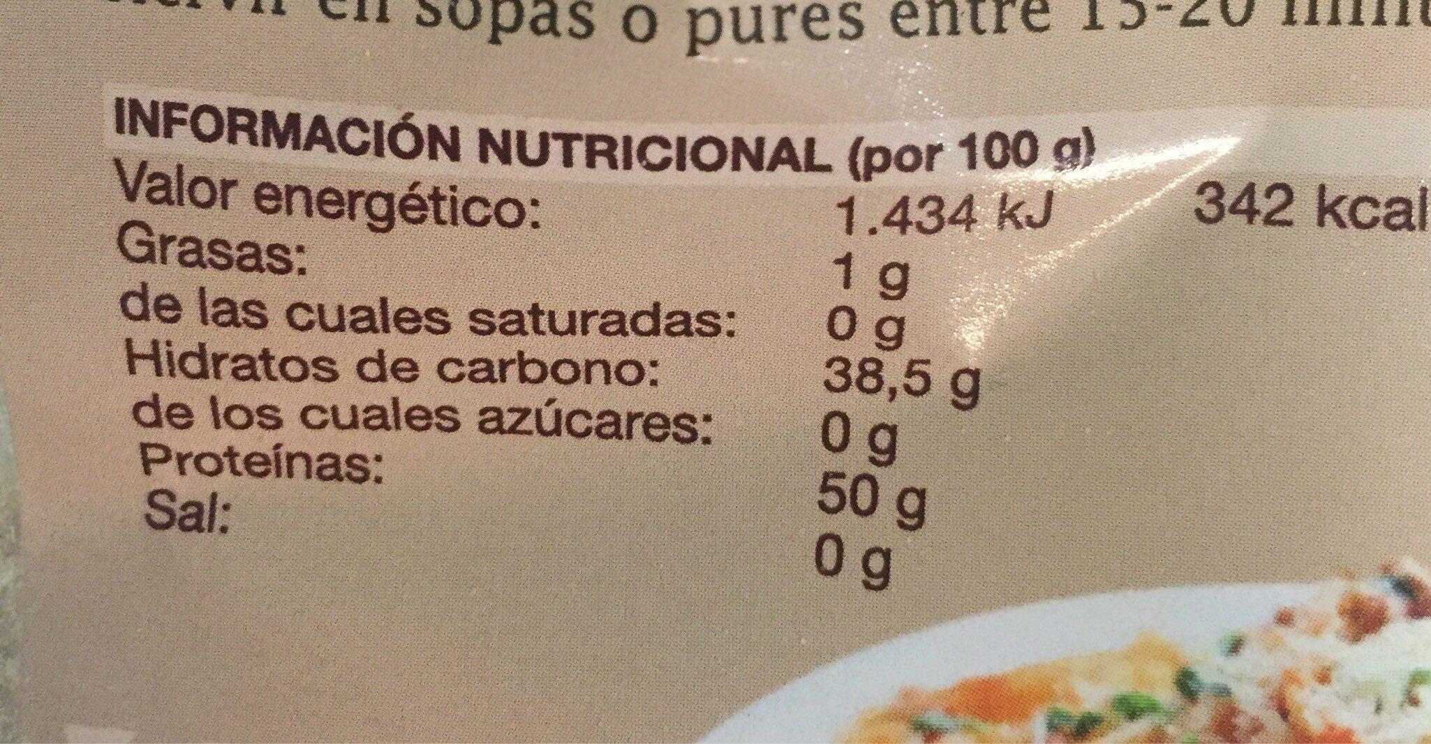 Proteína texturizada de soja - Informació nutricional - es