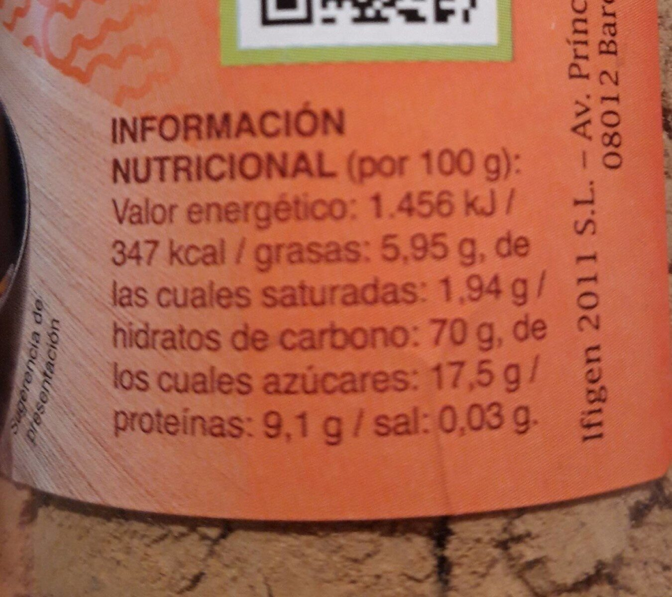 Jengibre en polvo mimasa - Nutrition facts