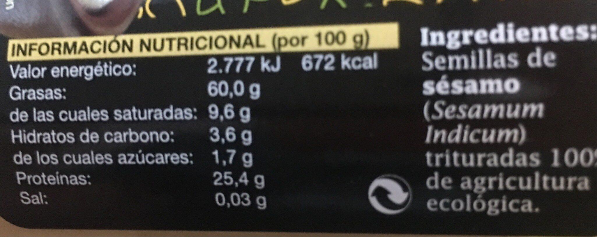 Tahin - Información nutricional - es