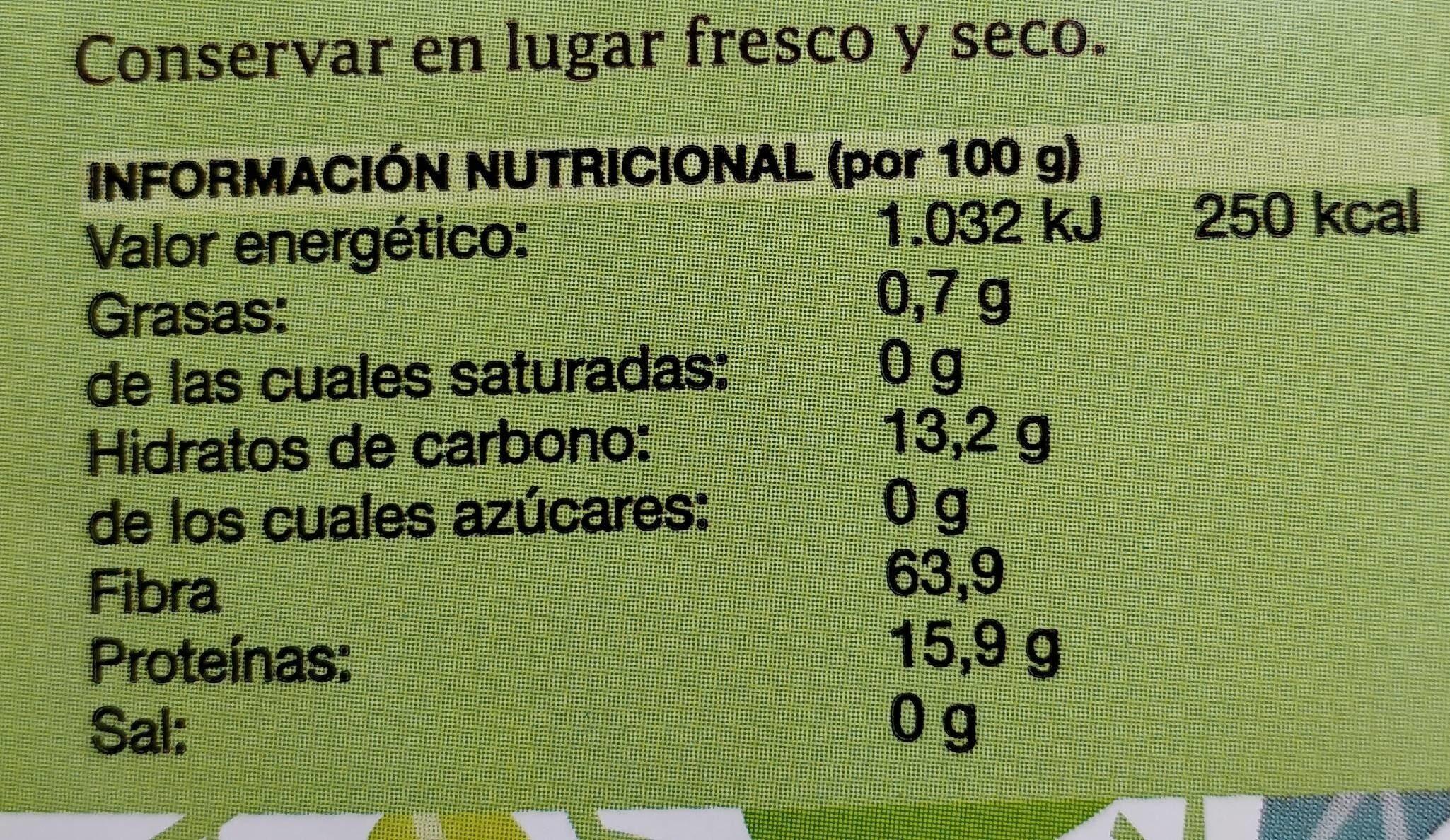 Té bancha - Informació nutricional - es