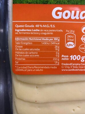 Queso Gouda - Nutrition facts