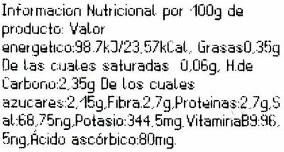 Brocoli - Información nutricional