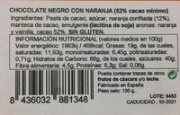 Onzas de chocolate negro y naranja - Información nutricional
