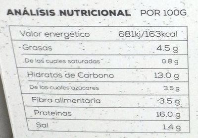 Bio burguer vegetal - Información nutricional - es