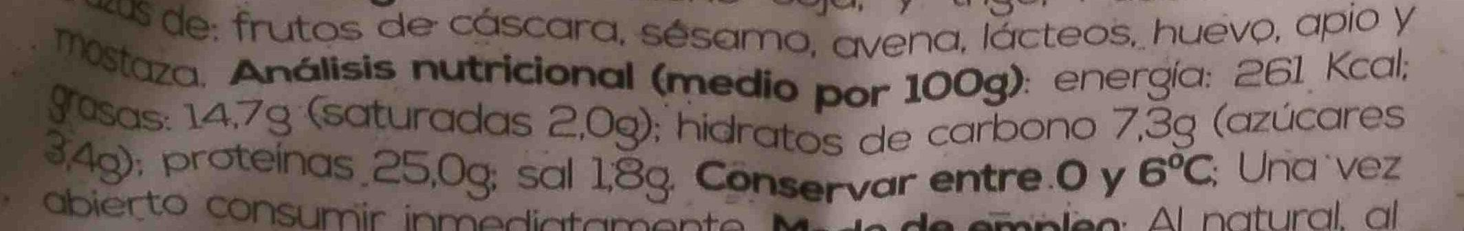 Bio Tofu Lonchas Rustido - Nutrition facts