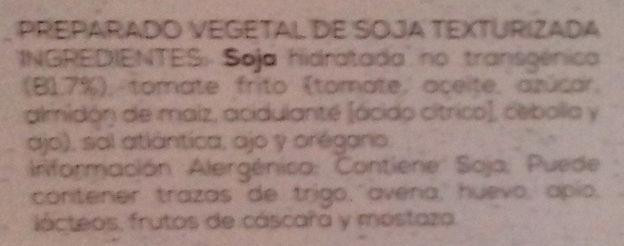 Delicias de soja - Ingredients