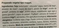 Bio nuggets veganos - Ingredientes
