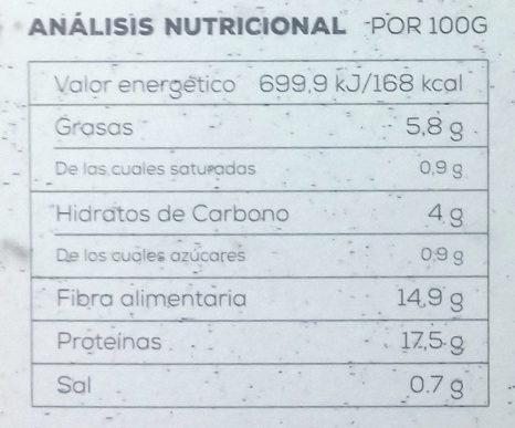 Bio Burger Vegetal Setas y pimientos - Informations nutritionnelles