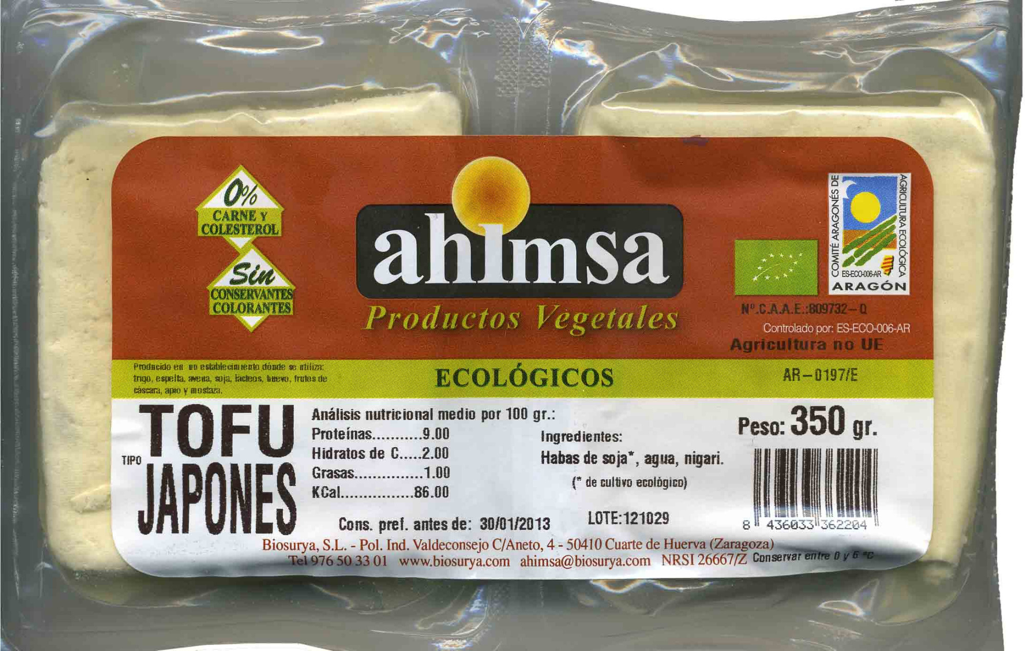 "Tofu ecológico ""Ahimsa"" Tipo japonés - Produit"