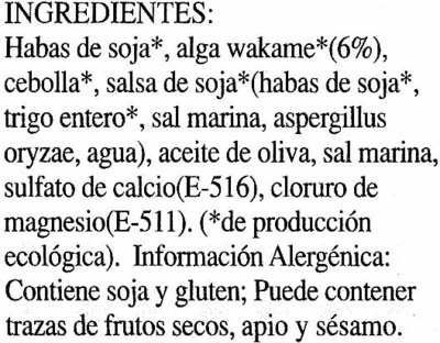 "Tofu ecológico ""Ahimsa"" Con algas - Ingrédients"