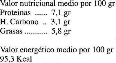 BIOTOFU CON ALGAS - Informations nutritionnelles