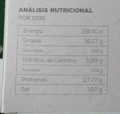 Bio Seitán y Tofu Tradicional - Información nutricional