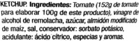 Ketchup Auchan - Ingredients - es