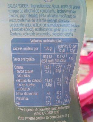 Salsa Yogur - Informations nutritionnelles