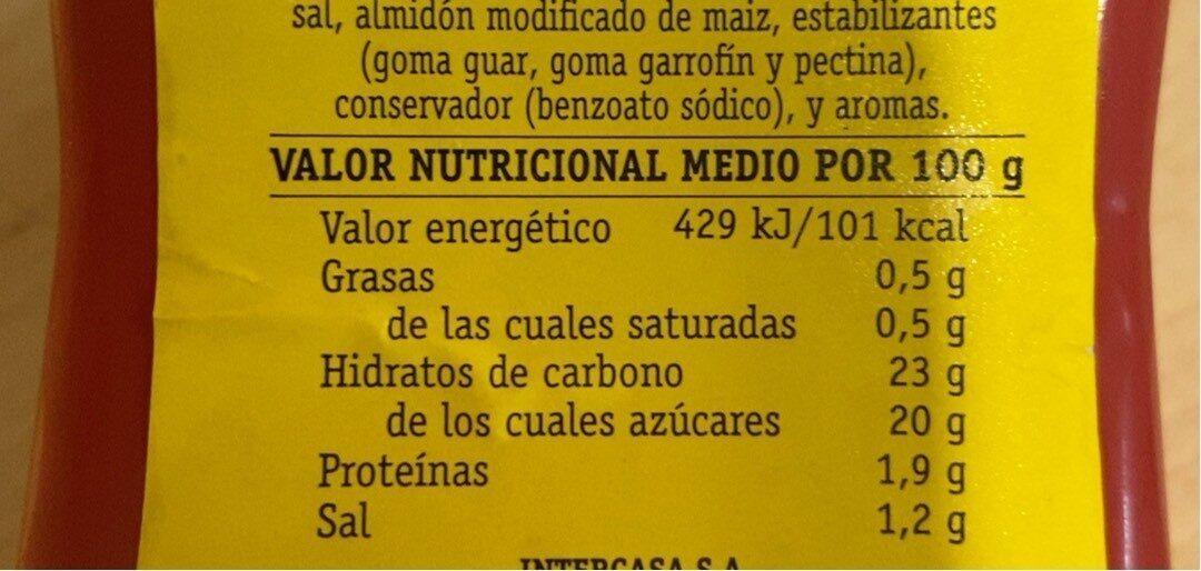 Ketchup intercasa - Información nutricional - es