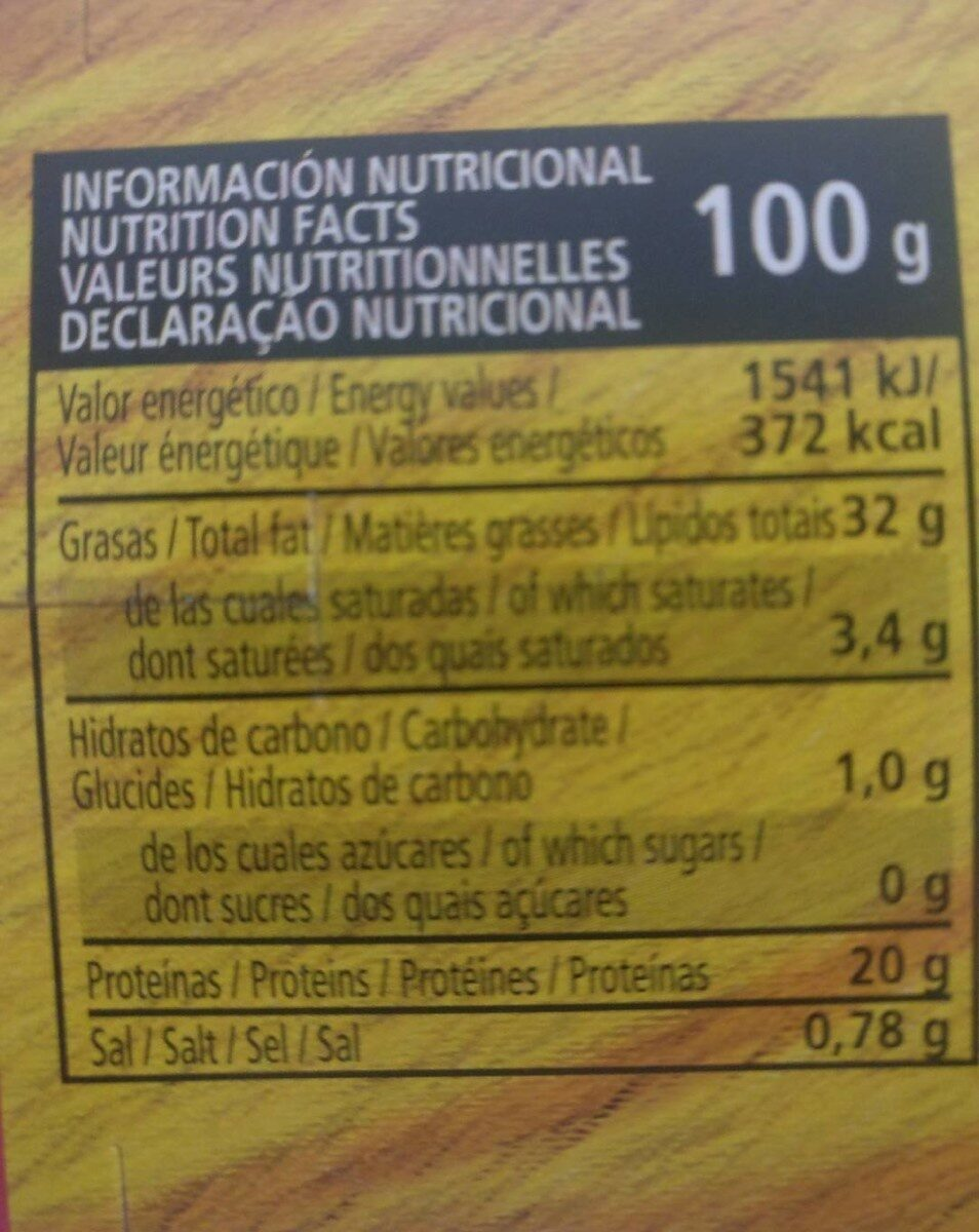 Atún en aceite vegetal - Información nutricional