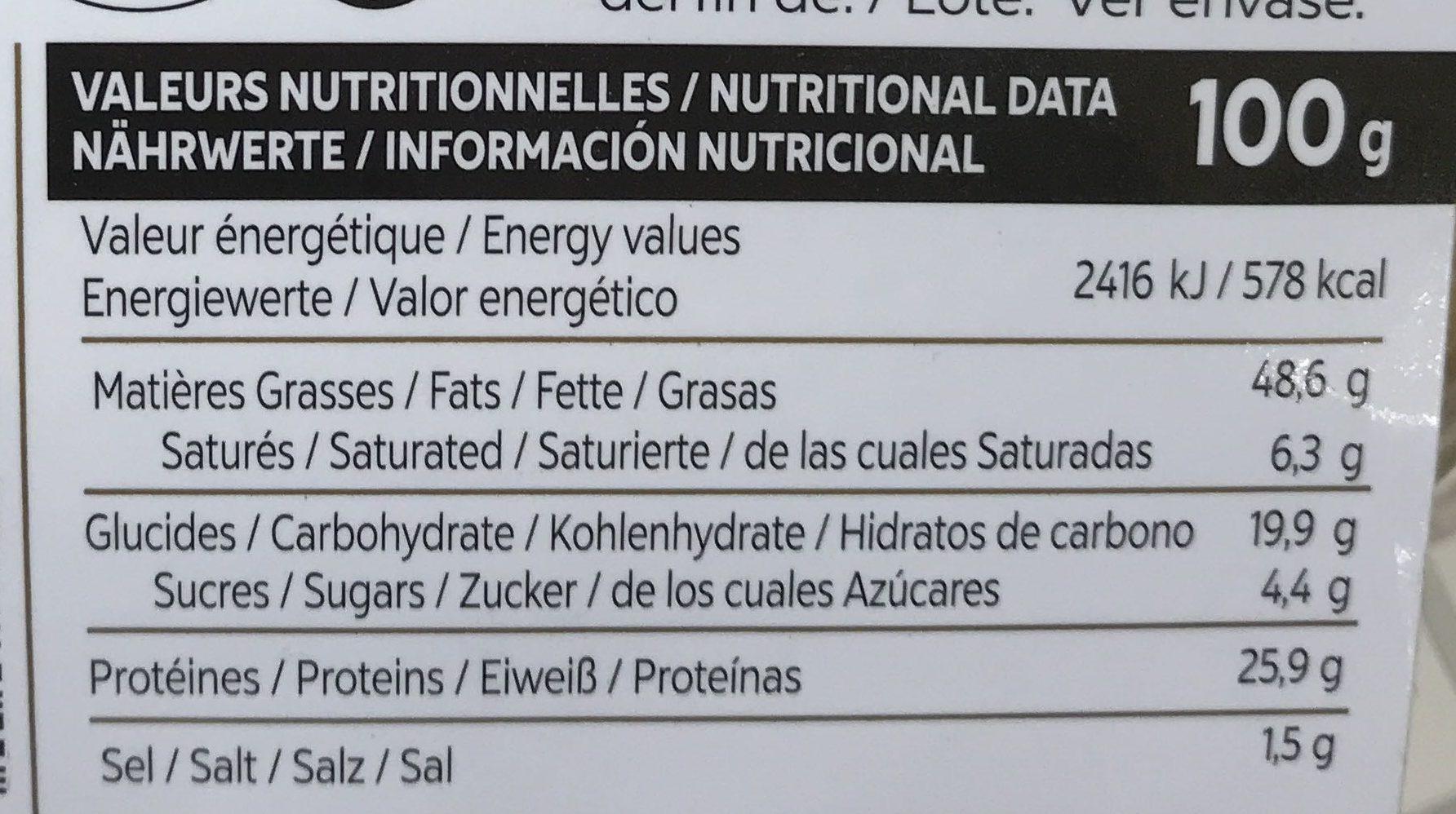 Cacahuete frit - Informations nutritionnelles