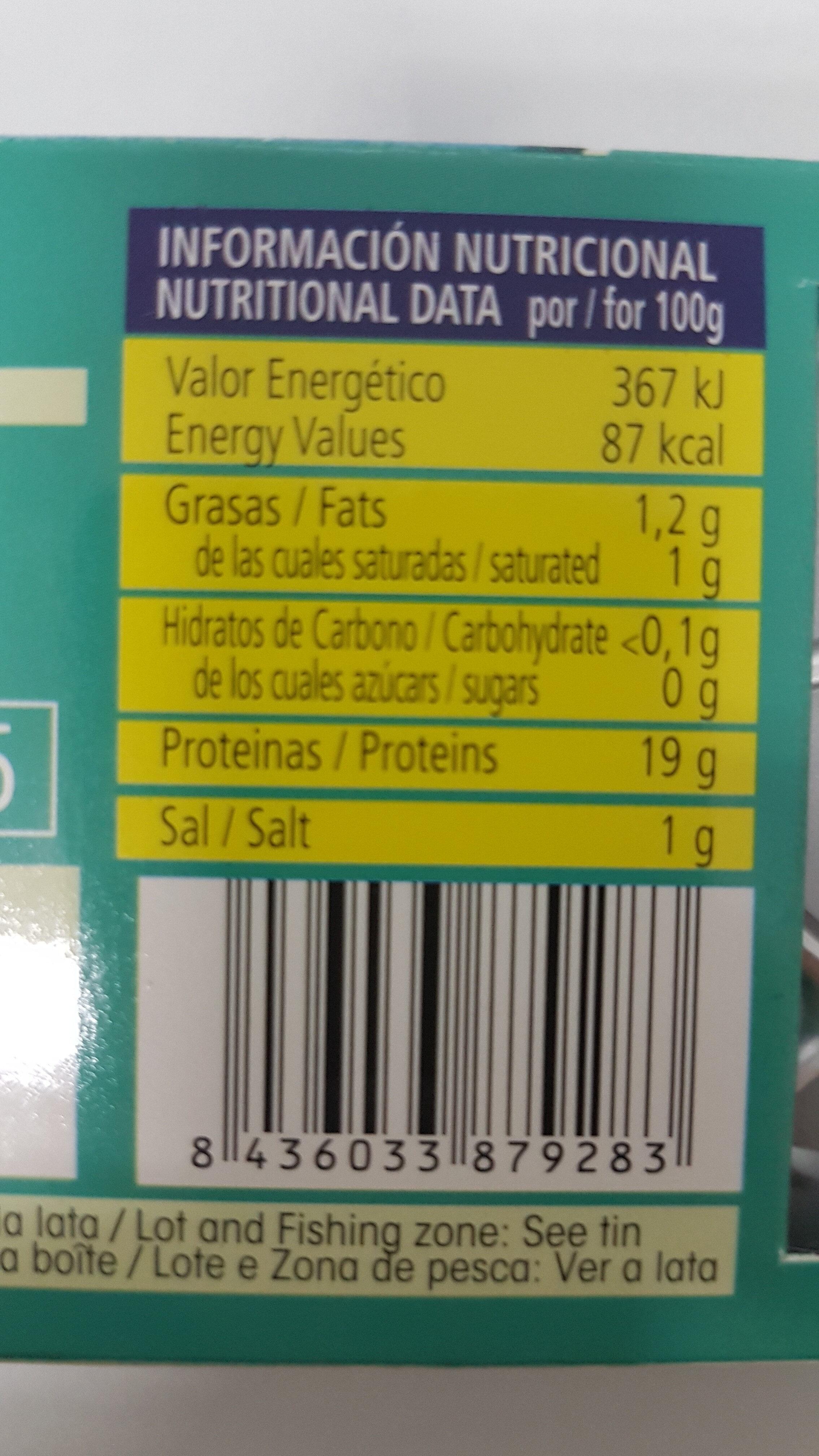 Atun claro al natural - Información nutricional