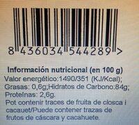 Mango Deshidratado Sin Azúcar - Voedingswaarden - es