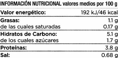 Lentejas estofadas con verduras - Informations nutritionnelles