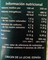 Leche semidesnatada - Informations nutritionnelles - es