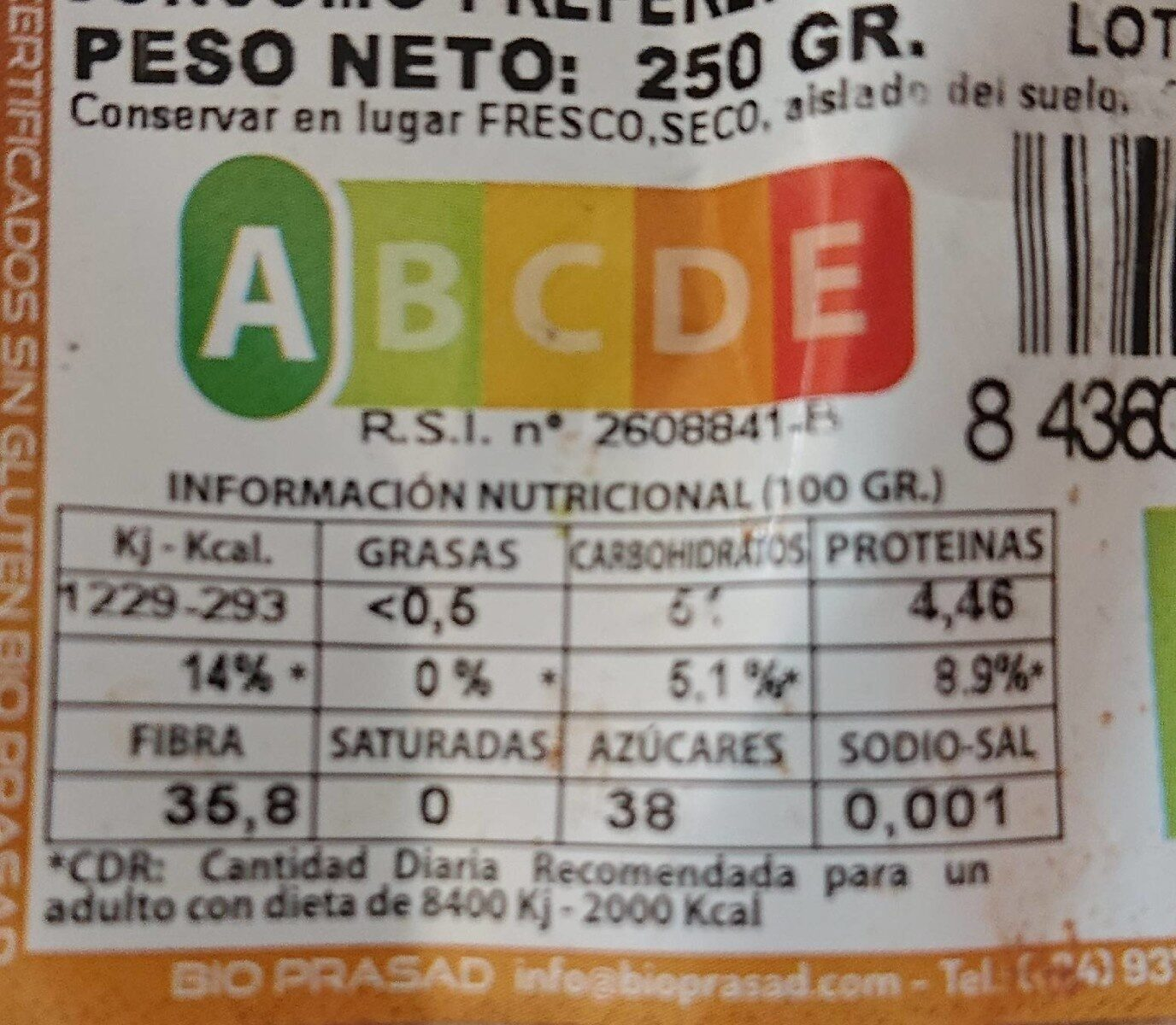 Harina Algarroba - Agricultura Ecológica - Informació nutricional - es