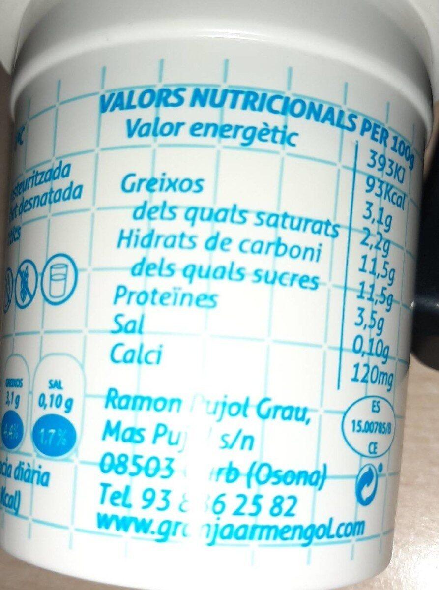 Granja Armengol Iogurt Natural - Información nutricional - es