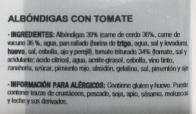 Albóndigas con tomate - Ingredients