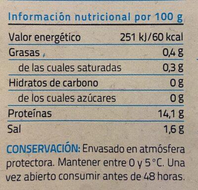 Bacalao desmigado curado en sal y desalado - Información nutricional
