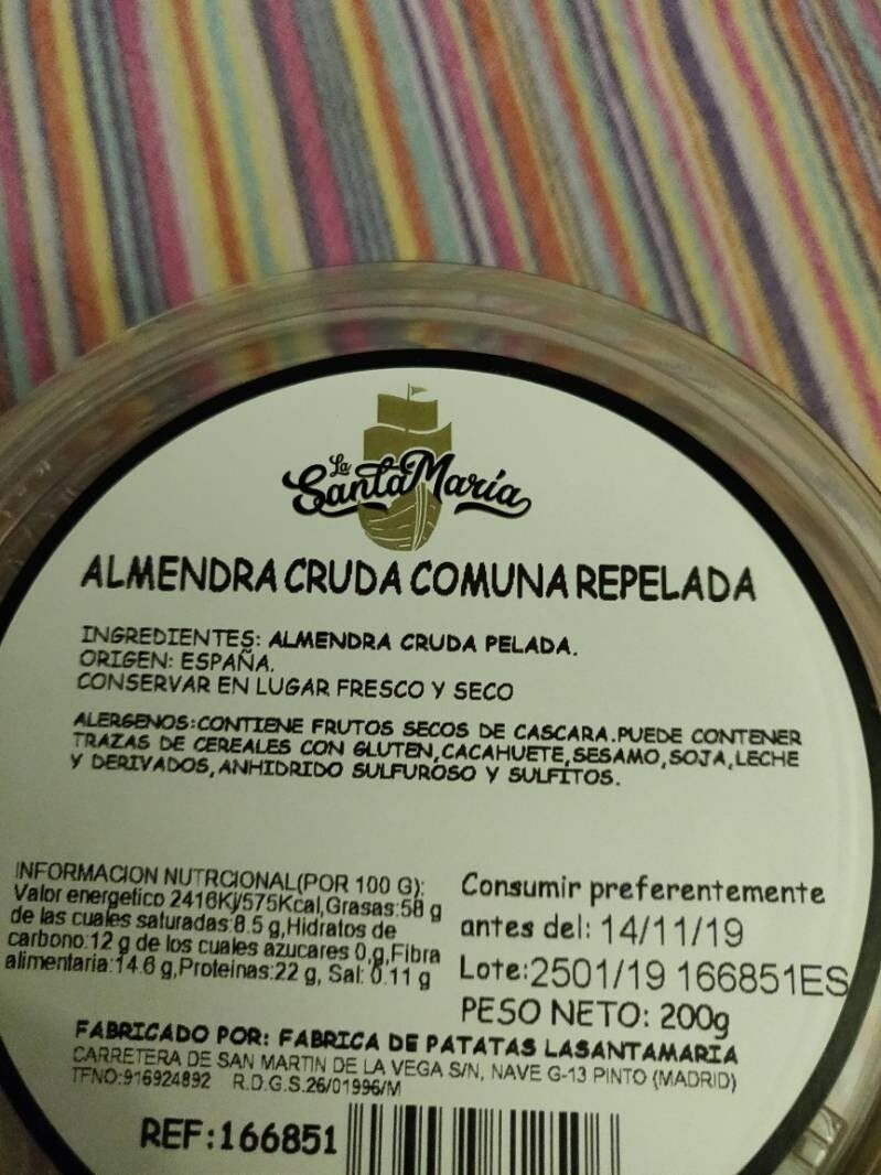Almendra cruda comuna repelada - Ingredientes