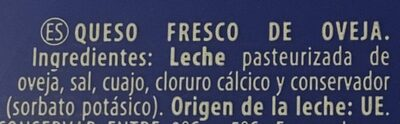 Queso fresco de burgos oveja - Ingrédients - es