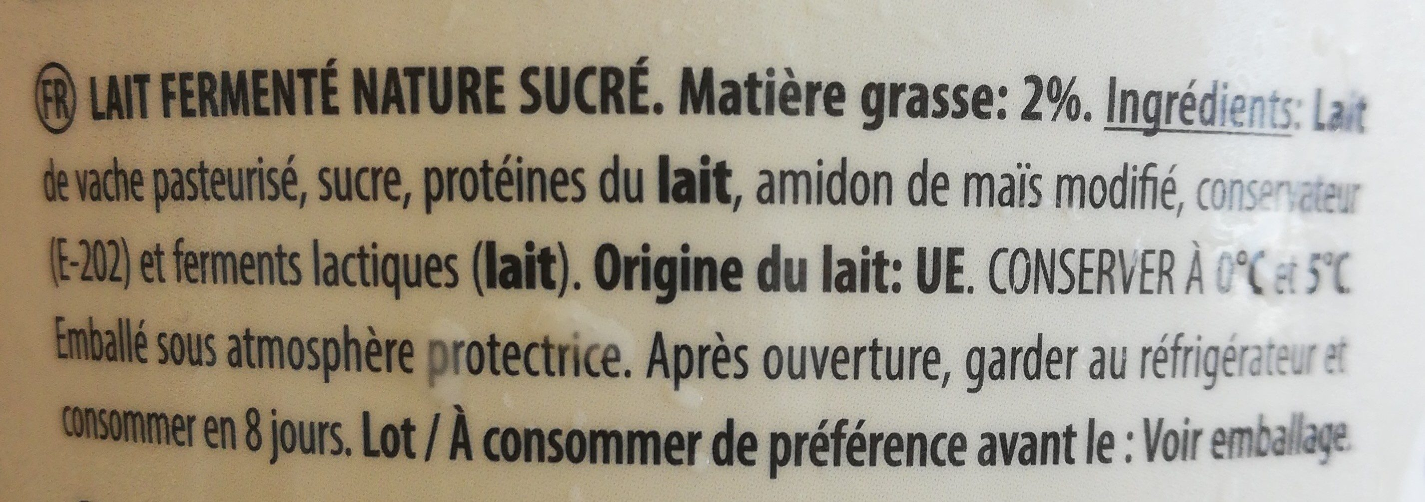 Yaourt nature sucré - Ingredients - fr