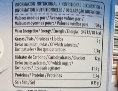 Yaourt nature sucré - Informació nutricional - fr