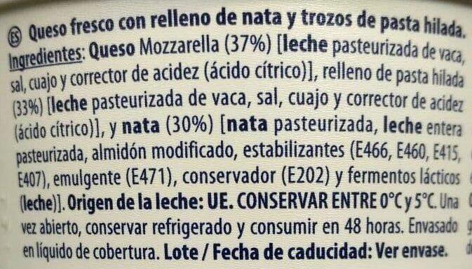 Burrata - Ingrédients - es