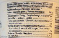 Burrata - Informations nutritionnelles - es