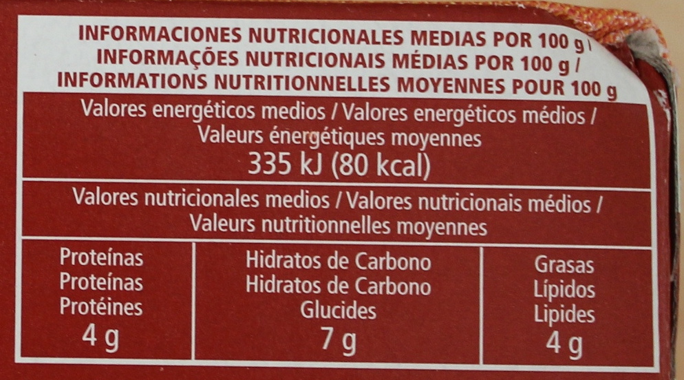 Pimientos del piquillo rellenos de carne - Informació nutricional - fr