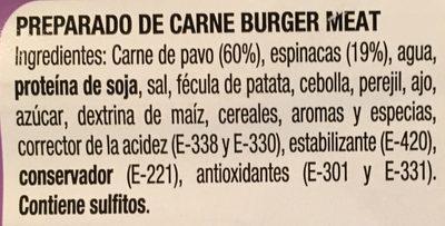 Burger pavo / Espinaca - Ingredients
