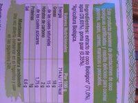 Leche coco biologoca - Ingrediënten - es