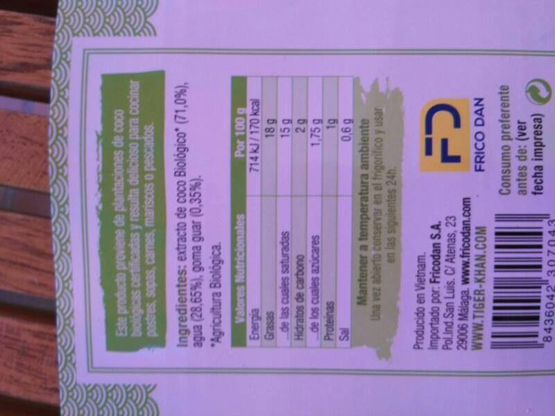 Leche coco biologoca - Voedingswaarden - es