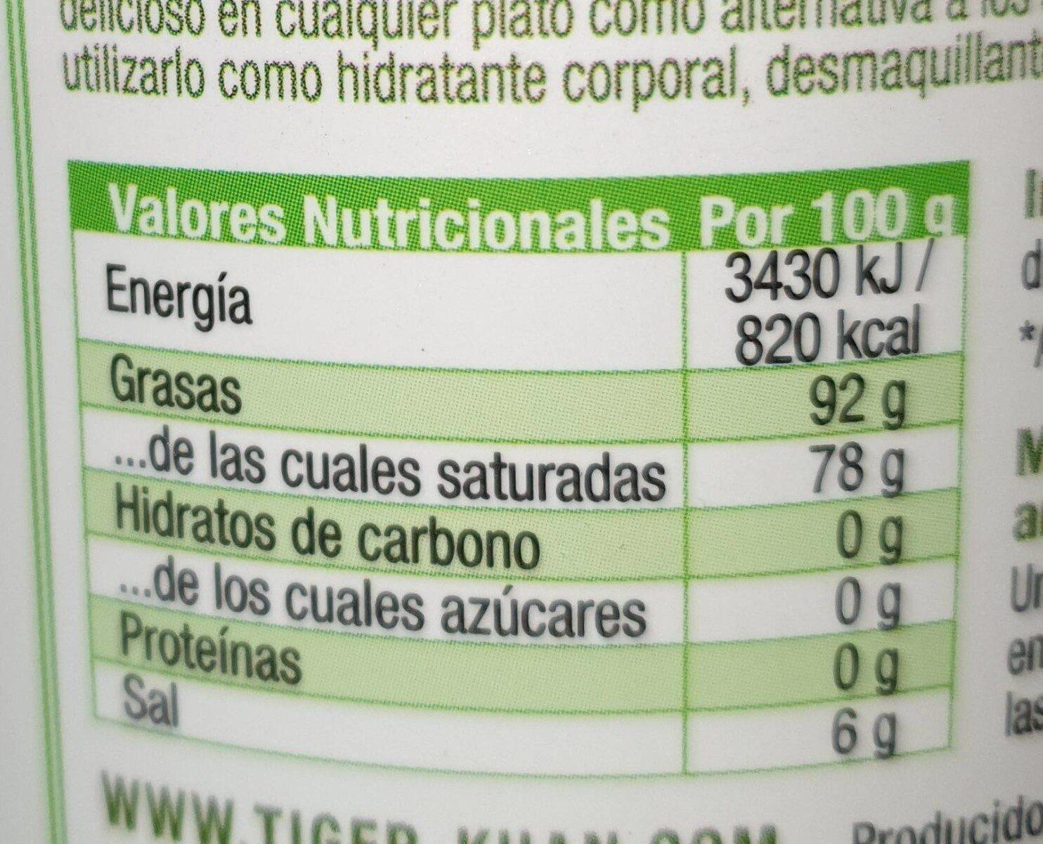 Huile de coco - Informations nutritionnelles