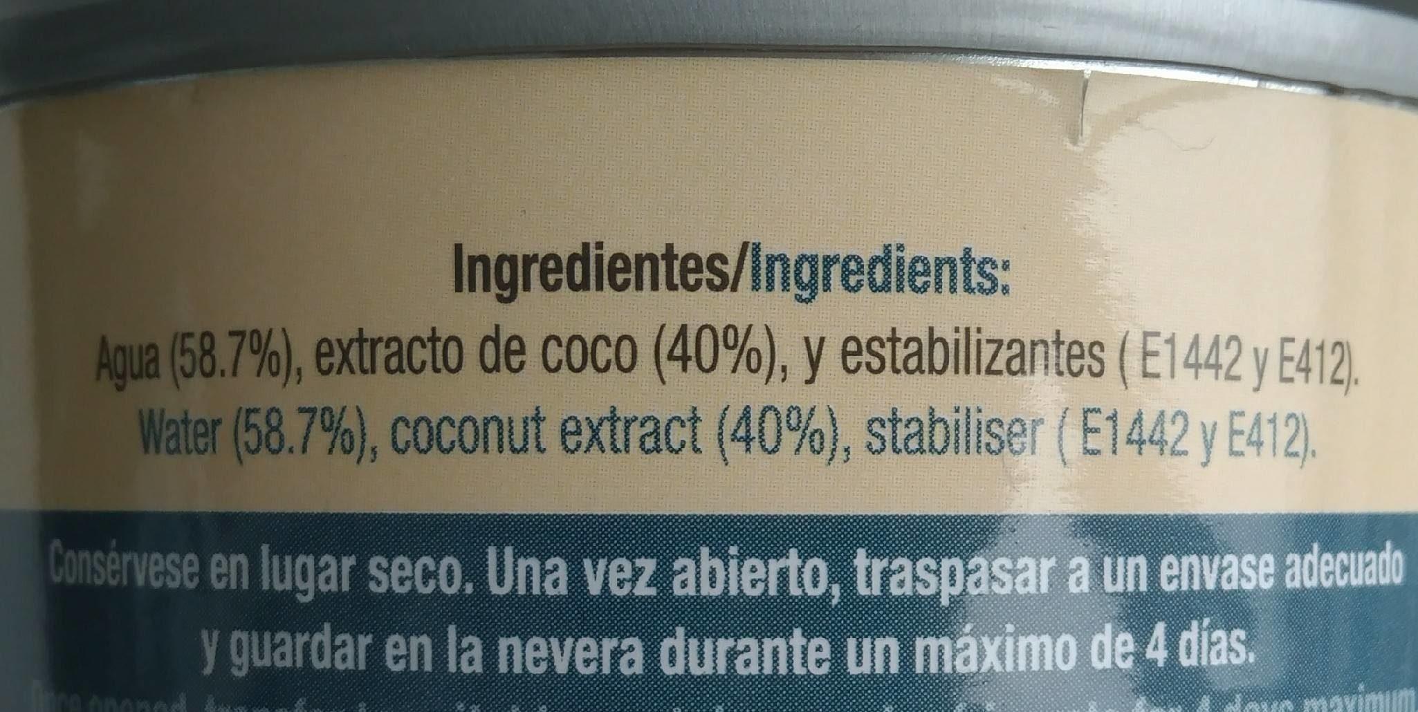 Light Coconut Milk - Ingredientes