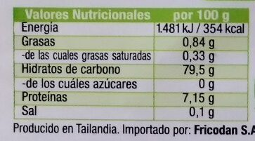 Fideos de arroz biologicos - Nutrition facts - es