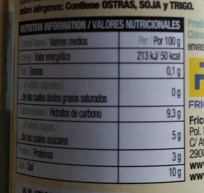 Salsa de ostras - Informació nutricional - es