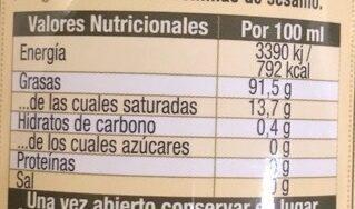 Aceite de sesamo botella 200 ml - Información nutricional