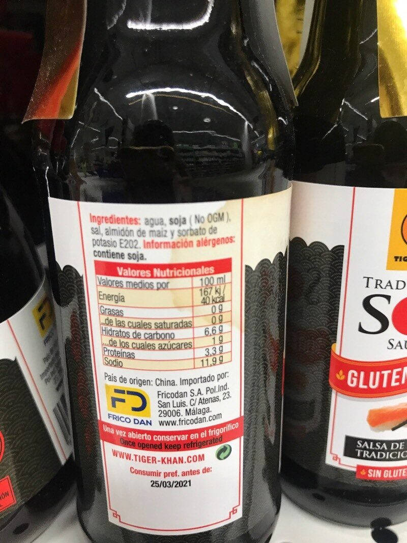 Tradicional Soy Sauce - Nutrition facts
