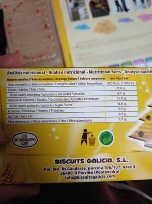Biscuits Galicia - Nutrition facts